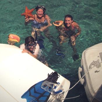 Seesterne und Conch Entdeckungen beim Schnorcheln auf den Bahamas
